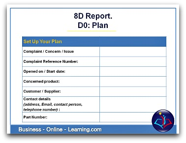 8D Report Template for D0:Report Plan