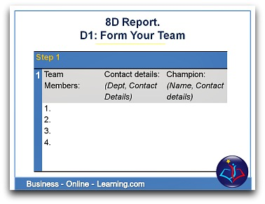 8D Report Section D1 Form your Team