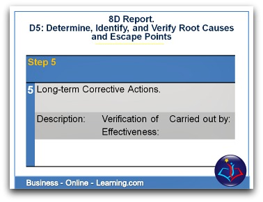 8D Report Section D5 Long-term Corrective Actions