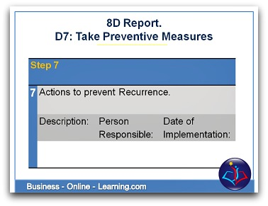 8D Report Section D7 Taking Preventive Measures