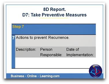 8D Report Section D7 Taking Preventive Measures