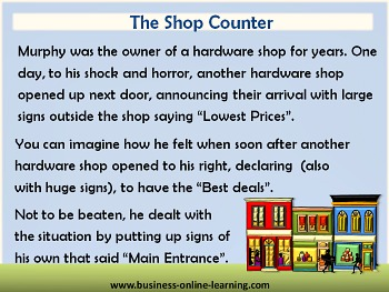 BusinessOnlineLearning with Humour called Shop Counter